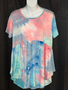 Blue TyeDye Babydoll Top