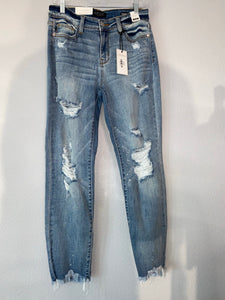 Judy Blue Destroyed Hem Boyfriend Jeans