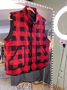 Red and Black Plaid Sleeveless Vest