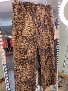 Animal Print Wide Leg Flare Jeans Plus