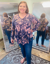 Load image into Gallery viewer, Navy Long Sleeve Top with V Neck