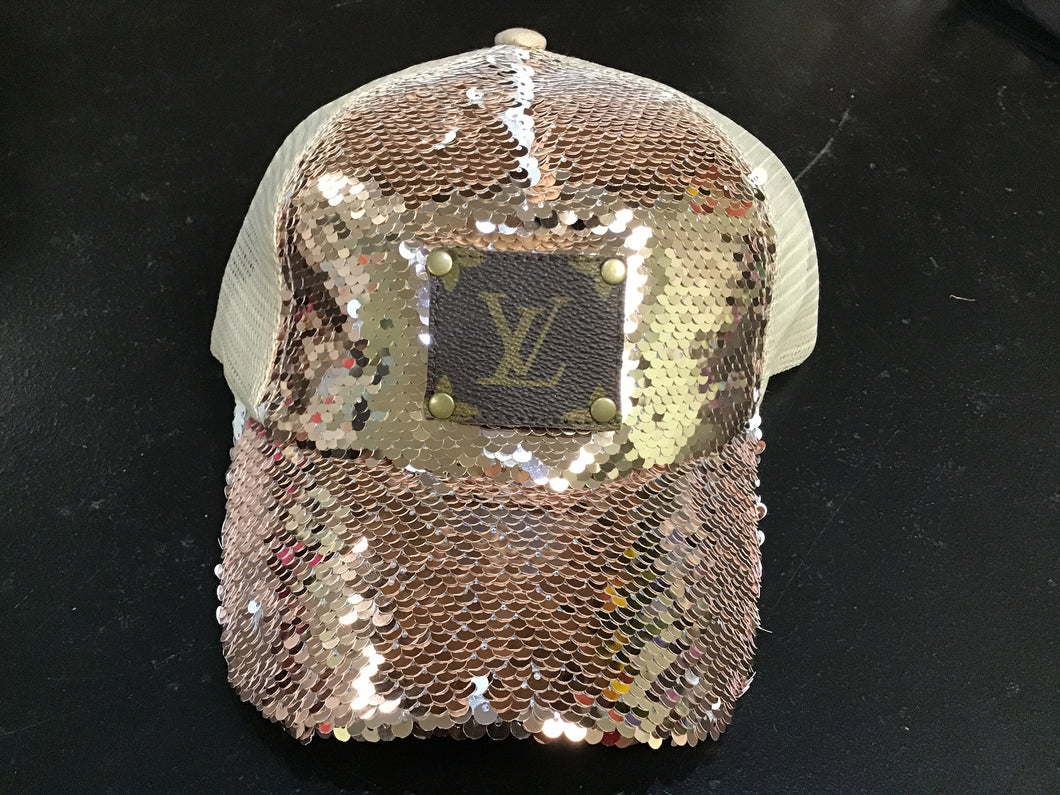 Beige Sequin Hat