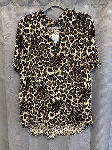 Leopard Print Short Sleeve Top