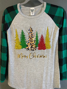 Gray and Green Sleeved Top with Gold, Green, Red Glitter and Animal Print Christmas Trees