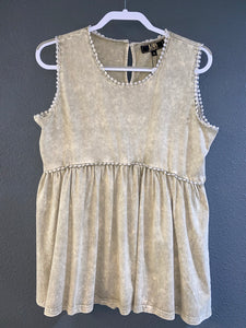 Ivory Acid Wash Baby Doll Top