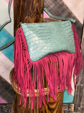 Load image into Gallery viewer, Teal and Pink Shoulder Bag