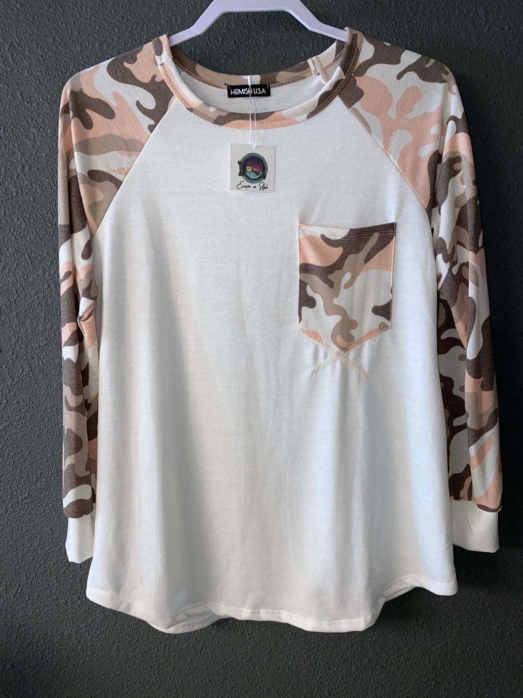 Ivory Top with Pink Camo Sleeves and Pocket
