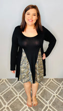 Load image into Gallery viewer, Black Dress with Camo Inlay