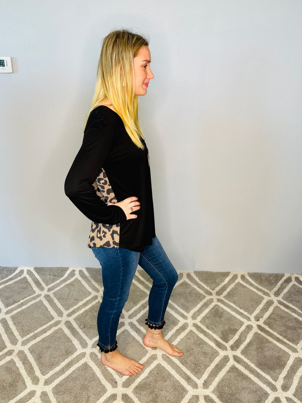 Black Long Sleeve Top with Animal Print Pocket and Back