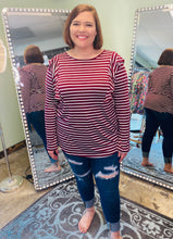 Load image into Gallery viewer, Burgundy Long Sleeve Striped Shirt with a Ruffle on the Shoulder