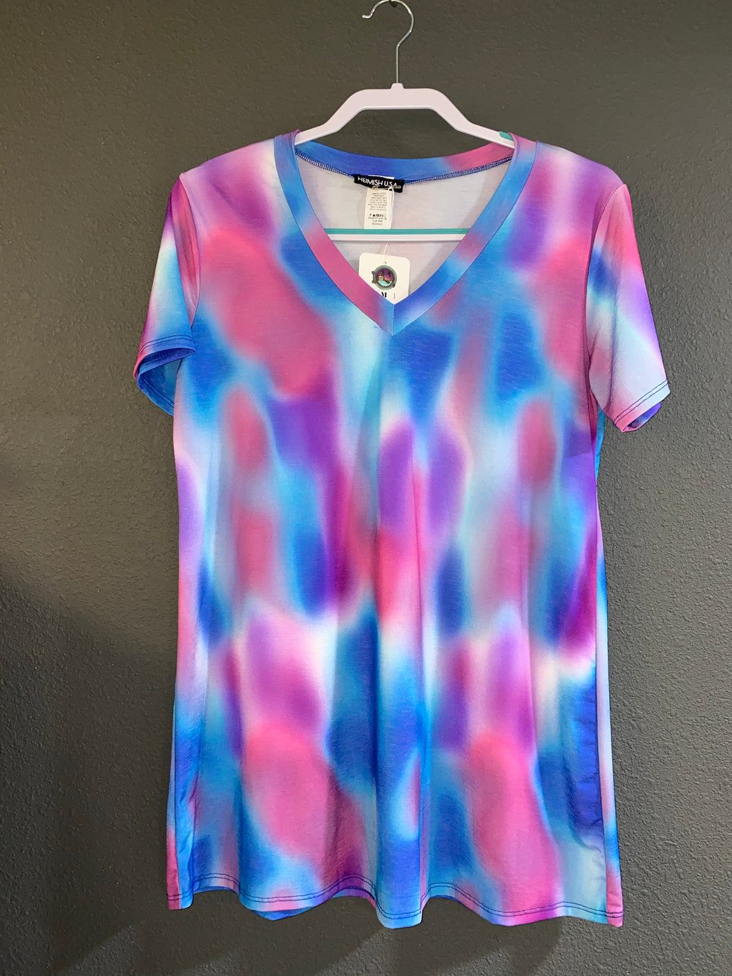 Blue Multi Color V Neck Tee