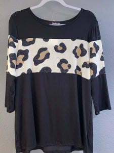 Black Long Sleeve Top with Cheetah Print