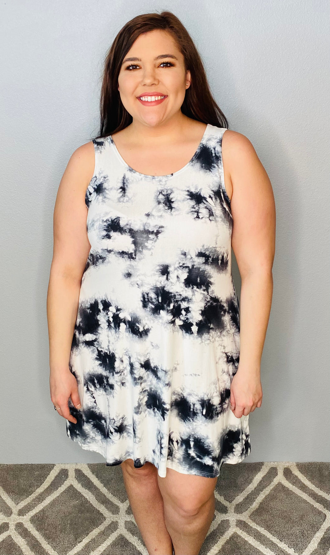 Black and Off-White Tank Dress