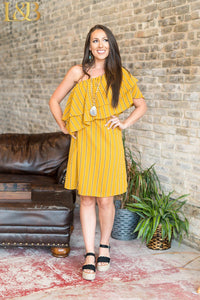 Mustard Stripe Asymmetric Short Sleeve Ruffle Dress