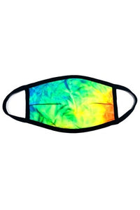 Face Mask yellow/green tie dye