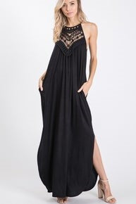 Black Maxi with Lace neckline