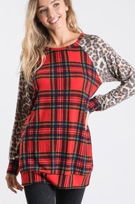 Red Plaid with Leopard Print Long Sleeves