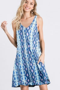 Blue/Pink Snakeskin Tank Dress