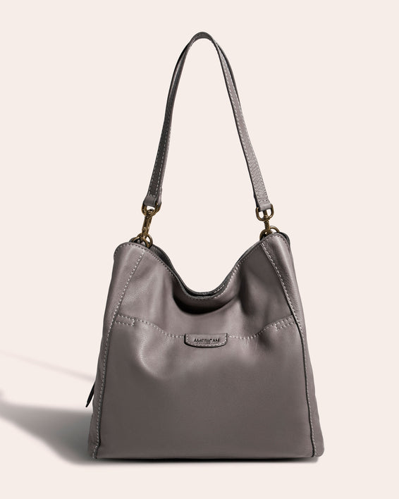 Austin Triple Entry Hobo - ash grey front