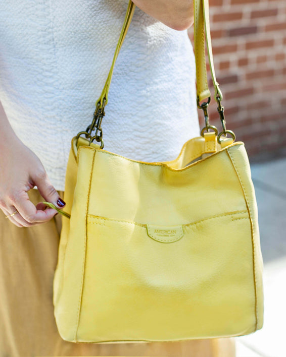 Austin Triple Entry Hobo - pale yellow lifestyle