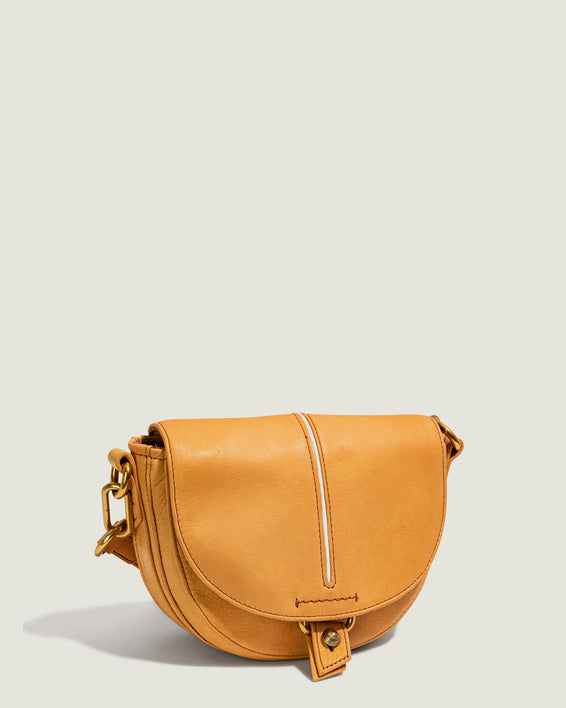 Azalea Saddle Crossbody - apricot side angle
