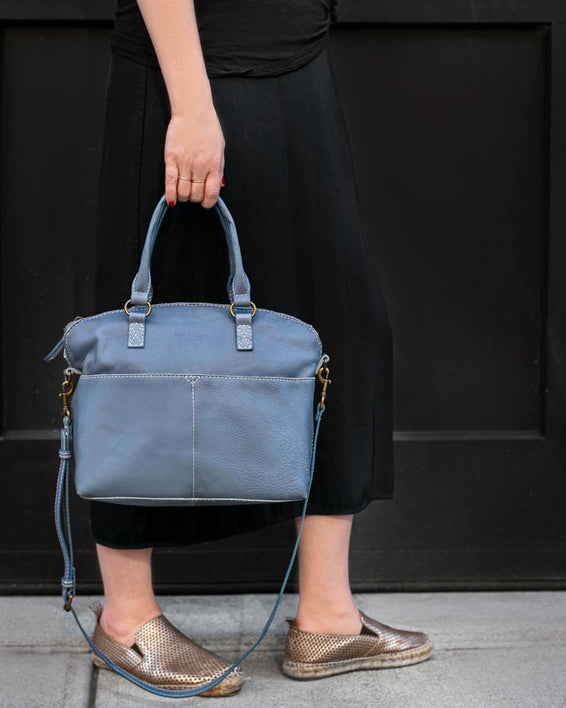 Carrie Dome Satchel - bay blue lifestyle