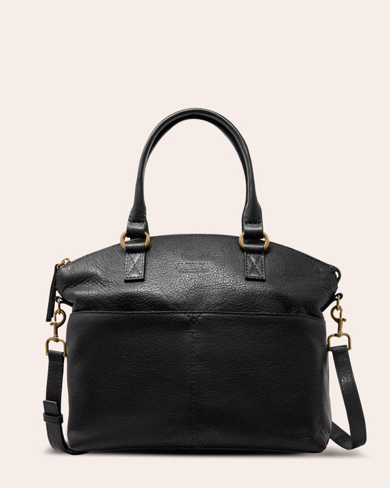 American Leather Co | Carrie Dome Satchel - black front
