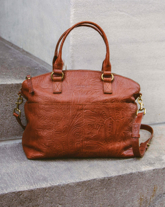Carrie Dome Satchel - brandy tooled lifestyle