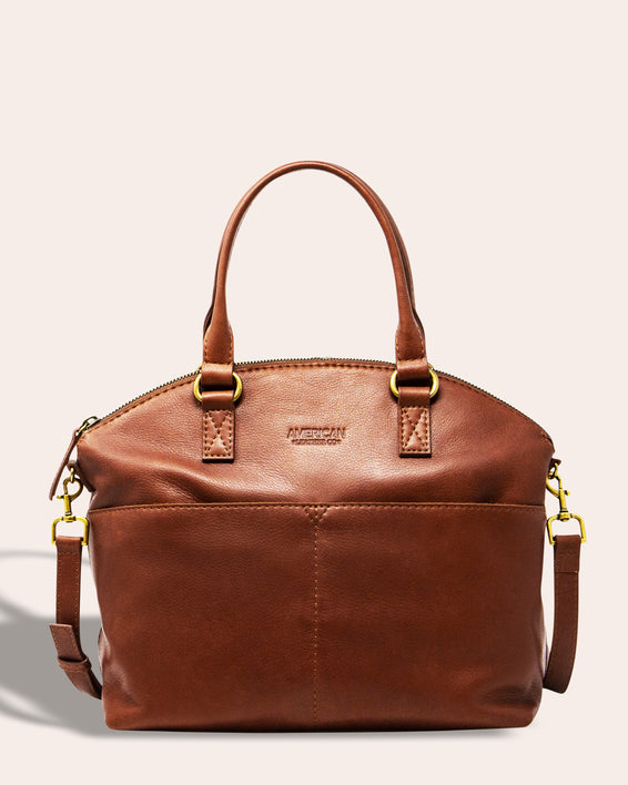 Carrie Dome Satchel - brandy front