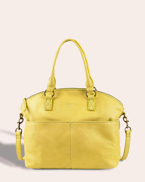 Carrie Dome Satchel - pale yellow front