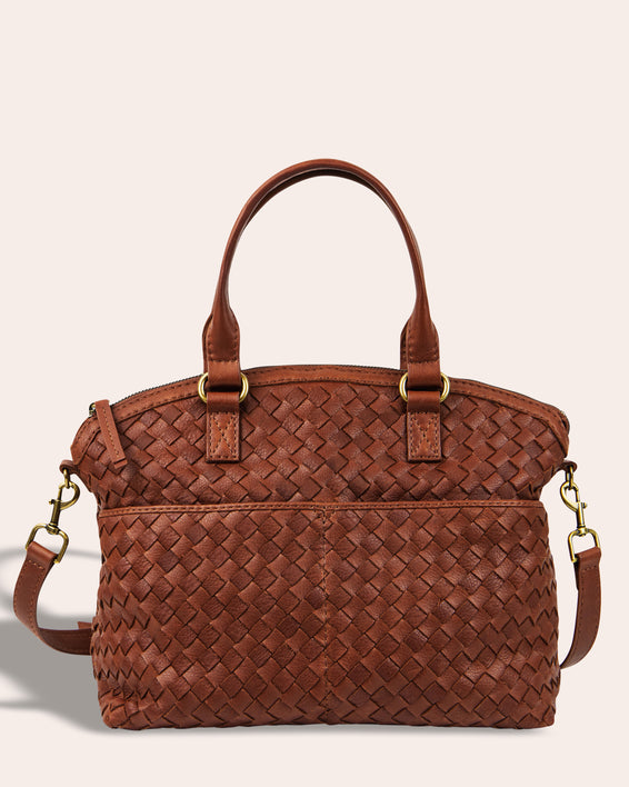 Carrie Woven Dome Satchel - brandy front