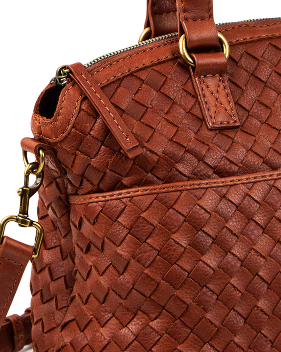 Carrie Woven Dome Satchel - brandy lifestyle