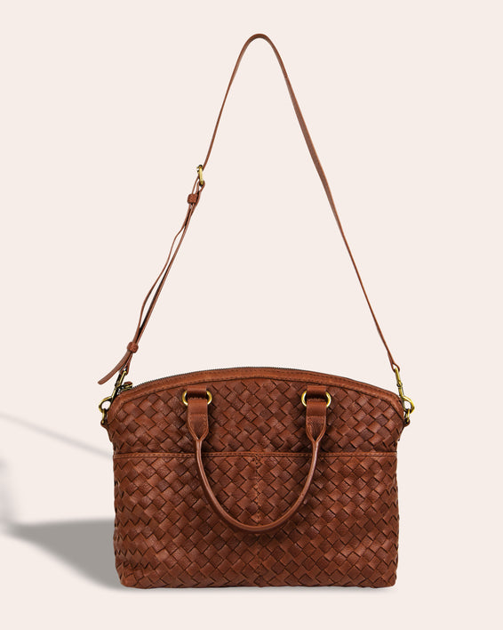 Carrie Woven Dome Satchel - strap detail