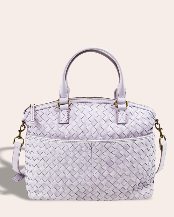 Carrie Woven Dome Satchel - lilac front