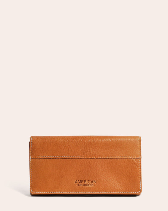American Leather Co. Clyde Wallet Cafe Latte - front