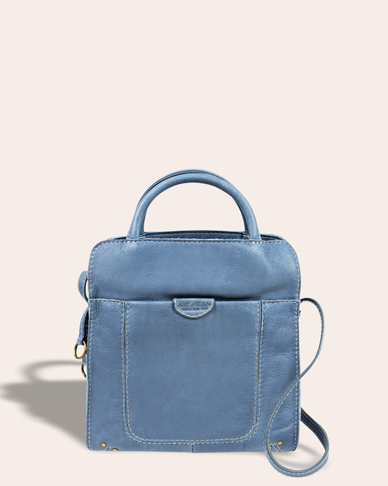 Darien Crossbody - bay blue front