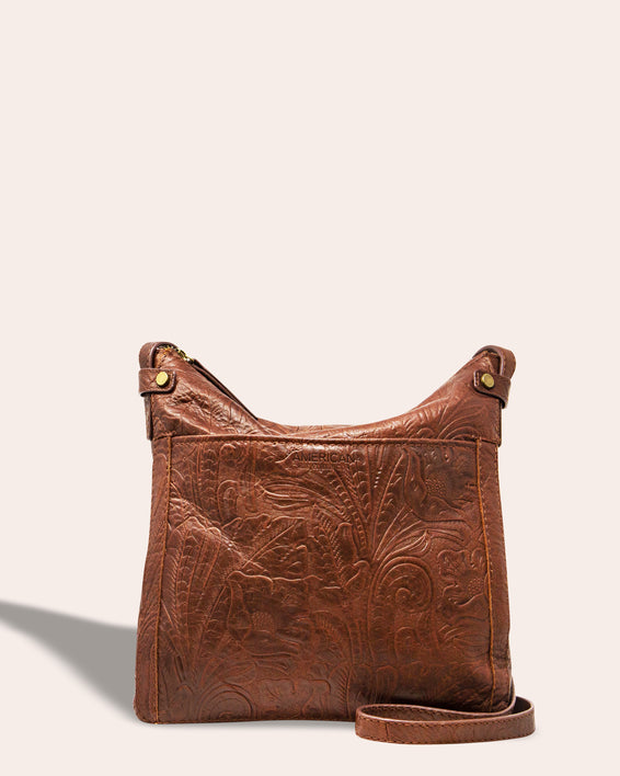 Evansville Flat Crossbody - brandy tooled front