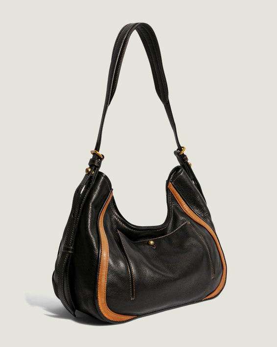 American Leather Co. Aster Shoulder Bag Black - side angle