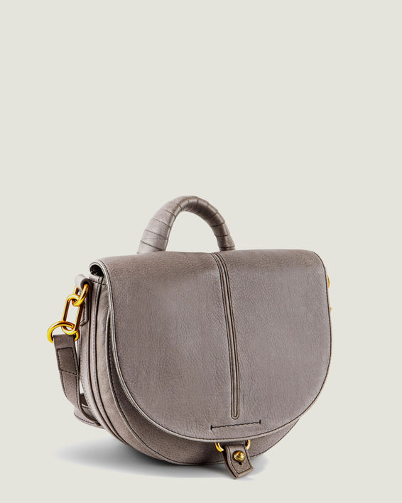 American Leather Co. Butternut Saddle Bag Ash Grey - side angle