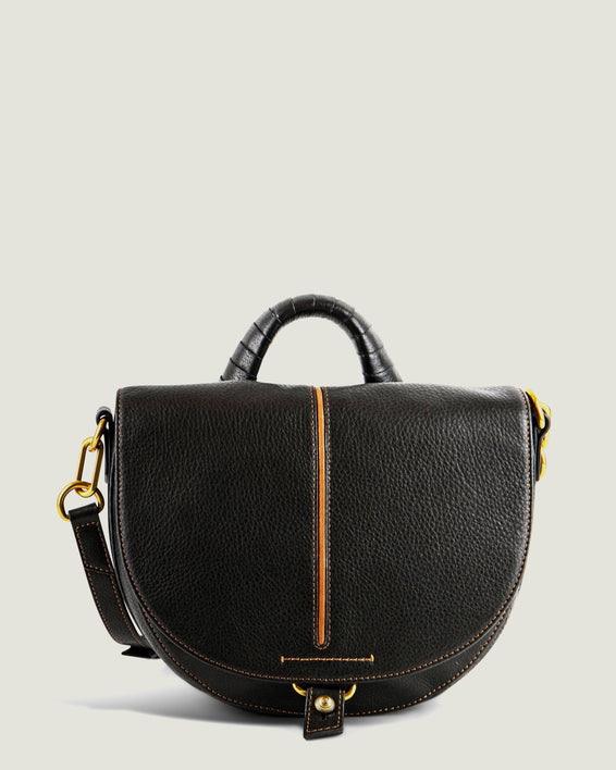 American Leather Co. Butternut Saddle Bag Black - front