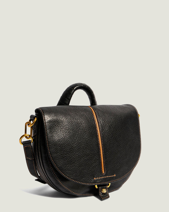 American Leather Co. Butternut Saddle Bag Black - side angle