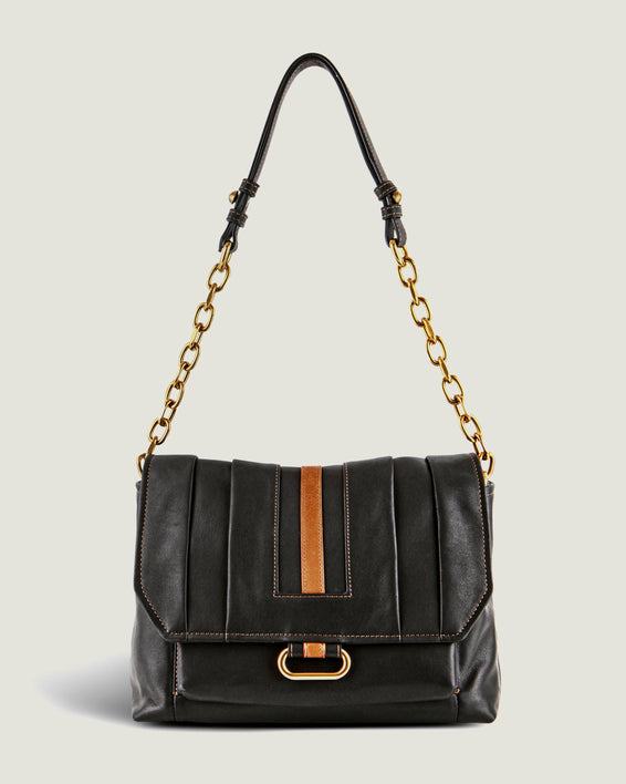 American Leather Co. Camellia Shoulder Bag Black - extended strap