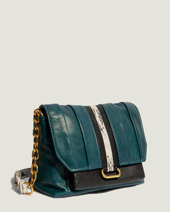 American Leather Co. Camellia Shoulder Bag Emerald - side angle