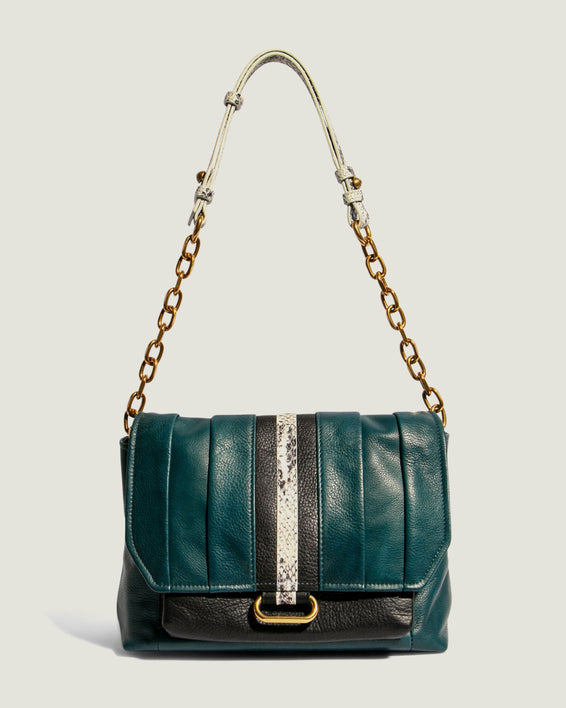 American Leather Co. Camellia Shoulder Bag Emerald - extended strap