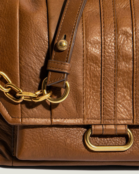 American Leather Co. Camellia Shoulder Bag Luggage - pleated leather detail