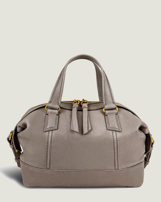 American Leather Co. Willow Draped Satchel Ash Grey - front