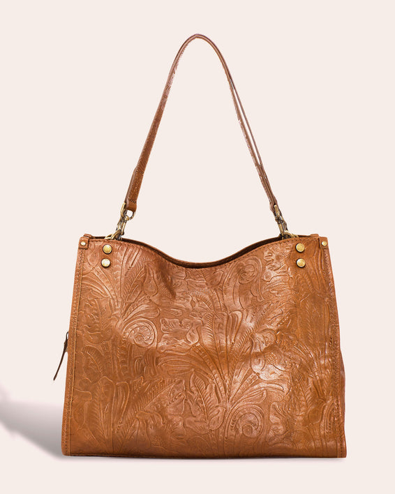American Leather Co. Lenox Triple Entry Satchel - cafe latte tooled front