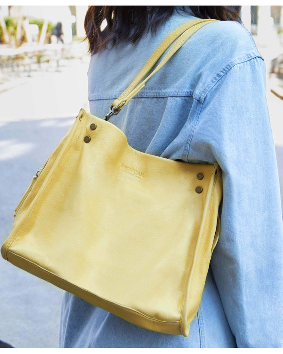 Lenox Triple Entry Satchel - pale yellow lifestyle