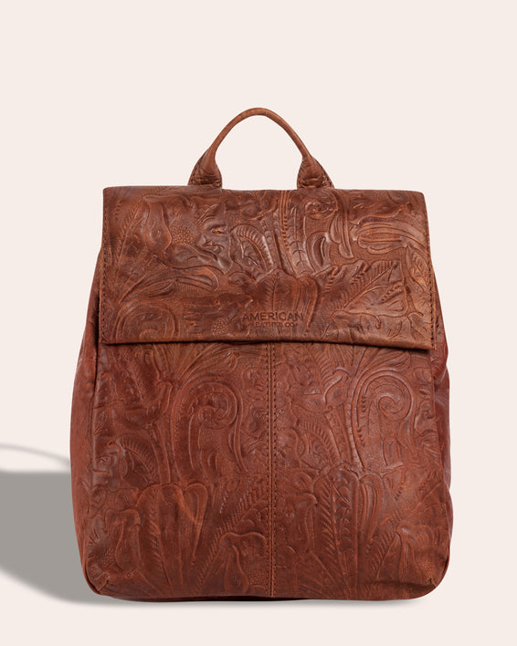 Liberty Backpack - brandy tooled front
