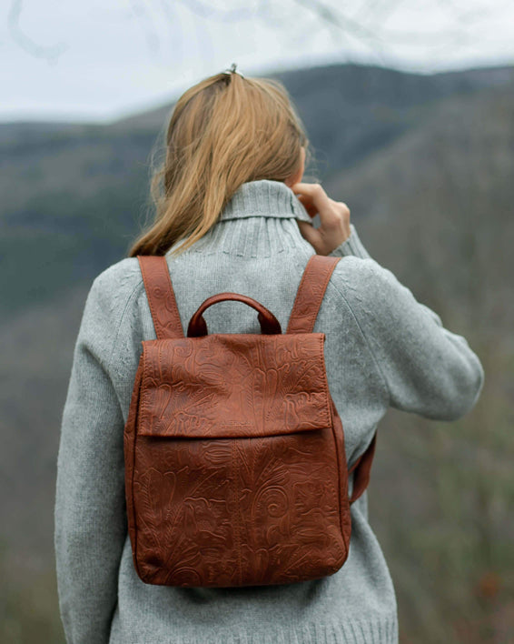 Liberty Backpack - brandy tooled lifestyle